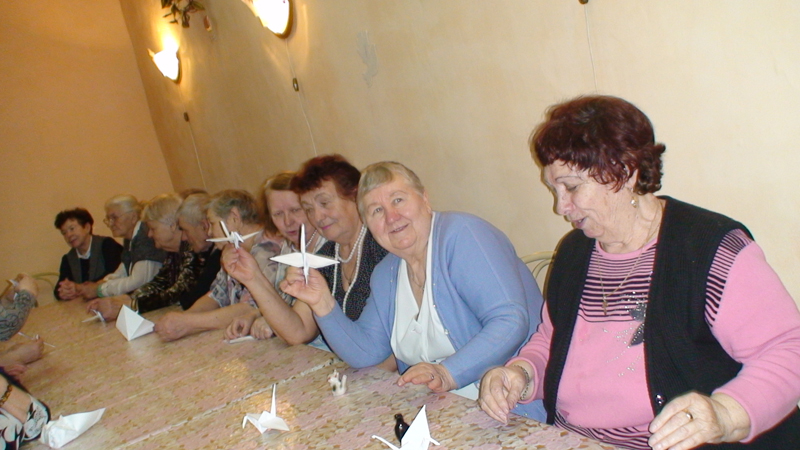 Изготовление оригами Журавль