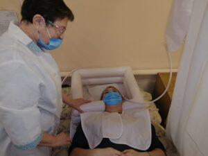 демонтация использования ТСР (надувной ванны для мытья головы)